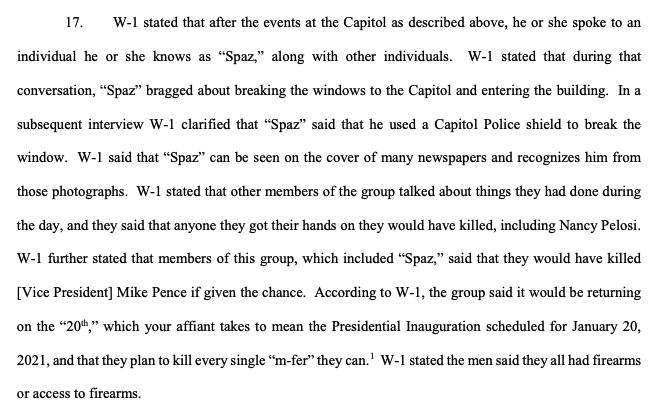 """Per another unsealed charging doc: Defendant believed to be a Proud Boys member known as """"Spaz,"""" and a witness told investigators that they'd spoken with a group that the def was part of who talked about killing Pelosi and VP Pence if they'd had the chance"""