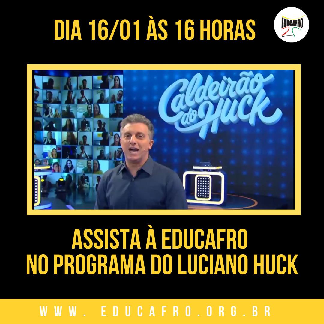 Neste sábado dia 16/01 as 16:00hs veja a história do  @FreiDavidOFM   no programa do  @LucianoHuck   #vidasnegrasimportam  #FrenteNacionalAntirracista #Educafro #EducafroBrasil