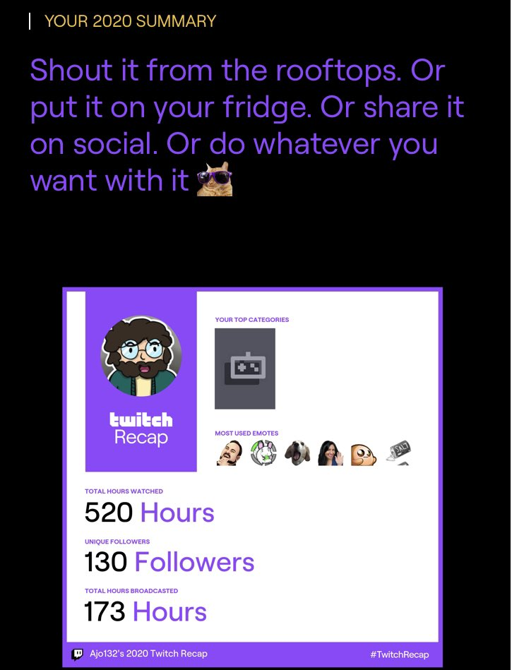 My twitch summary for 2020. Let's see what it's like this same time next year 👀👀👀 #twitch #twitchrecap #twitchstreamer