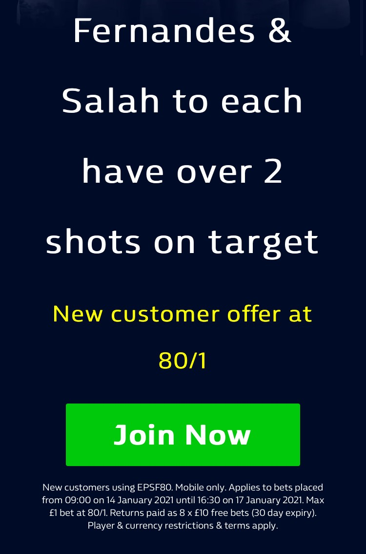 🚨 HUGE ENHANCED ODDS ⚽️  Get 80/1 for Bruno Fernandes and Mo Salah both to have 2 or more shots on target! 🥅💥#LIVMUN #LFC #MUFC   Claim via the link below ↙️ 📲  18+ | #Ad | New Customer Offer - Mobile Only | T&Cs apply | Be Gamble Aware