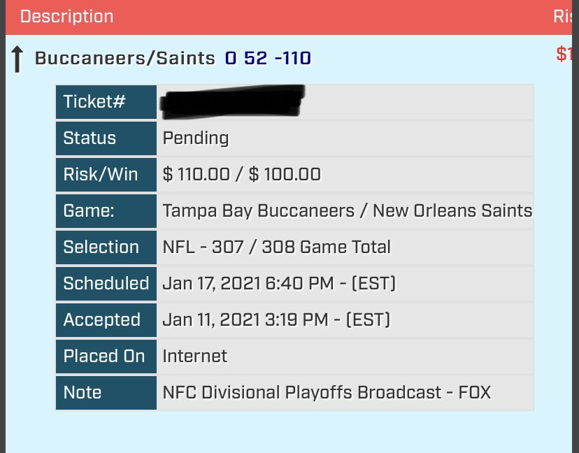 BET 3  #Buccaneers vs. #Saints OVER 52  1 UNIT