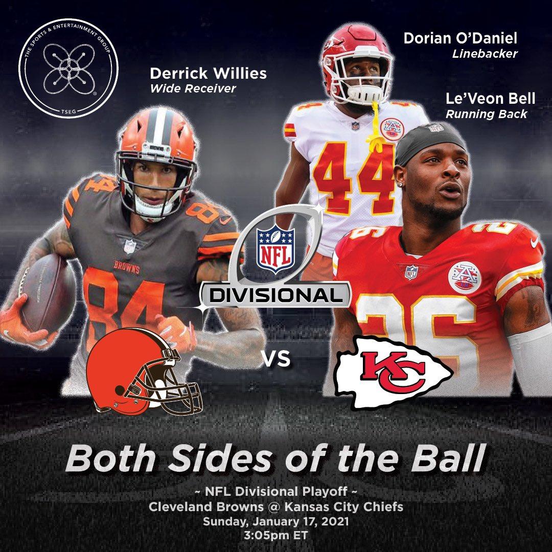Both sides of the 🏈 NFL Divisional Round Playoff Edition: #versus #verzuz💥 @Browns WR @derrickwjr VS. @Chiefs : @LeVeonBell @Dorian! #fantasyfootball #nfl #divisionalplayoffs #covid19 #Browns  #DerrickWillies #Chiefs #LeveonBell #DorianODaniel #TSEG  #AdisaBakari #SB55