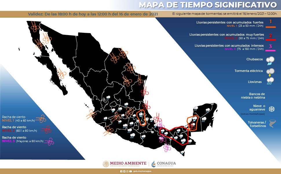 En el siguiente mapa de #México ubica las zonas con #Pronóstico de tiempo significativo para las siguientes horas. Con validez a las 12:00 horas de mañana.