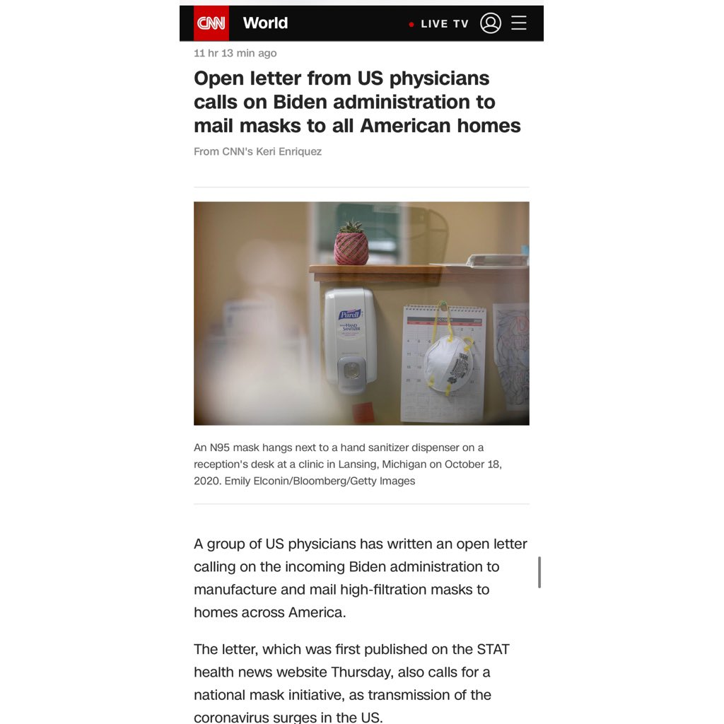 Some @CNN coverage of our recent piece @statnews calling for a national hi-fi mask initiative. More to come soon   #covid19 #BetterMasks  ____ https://t.co/yos6tBXmAn https://t.co/RfBZZ4UpFz