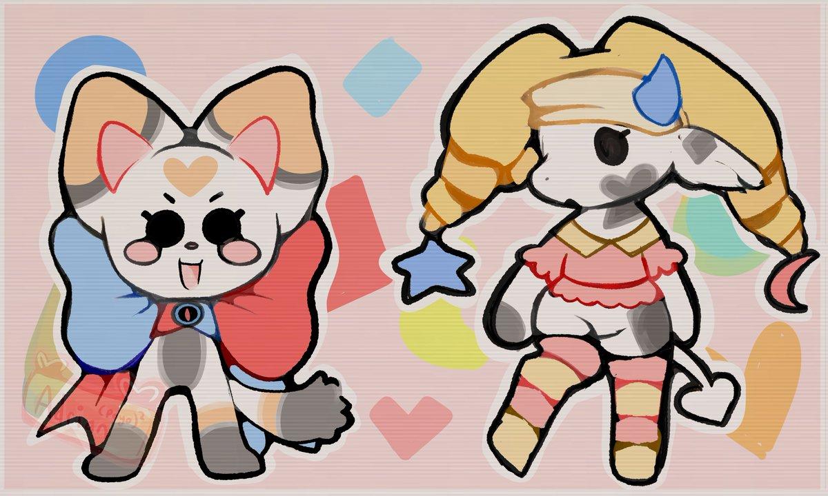 🐈Hunter Belle and Milza🐄 ハローキティ  #artwork #sanrio #hellokitty #OCS #originaldesigns #cow #cat #cute #chibi #bow #hat #firealpaca #adorable #myart #artistontwitter #artist #art2021 #new #newart