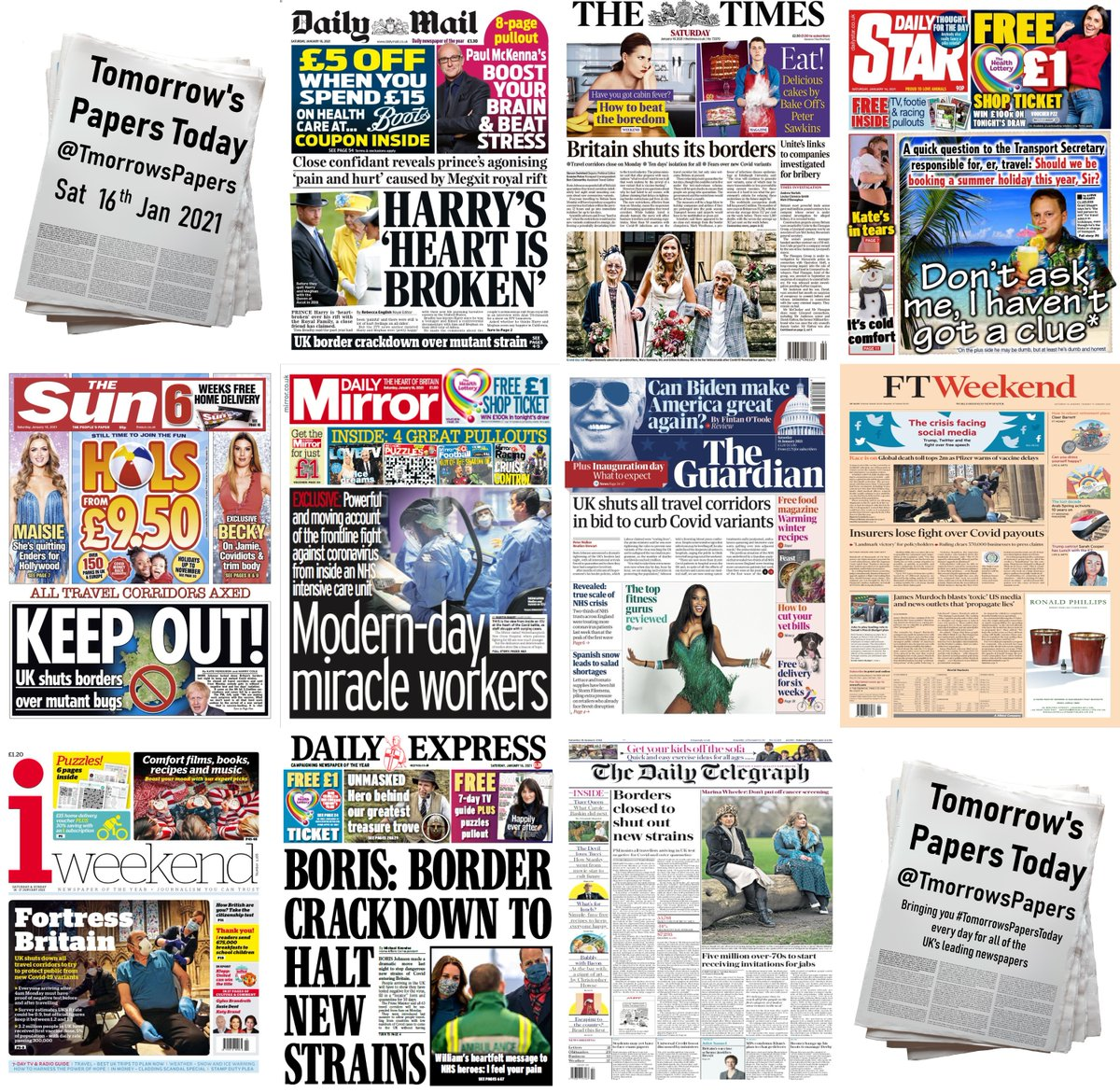 Summary of Saturday's front pages (16/01/2021) #TomorrowsPapersToday #FrontPages #SaturdaysPapers #Headlines