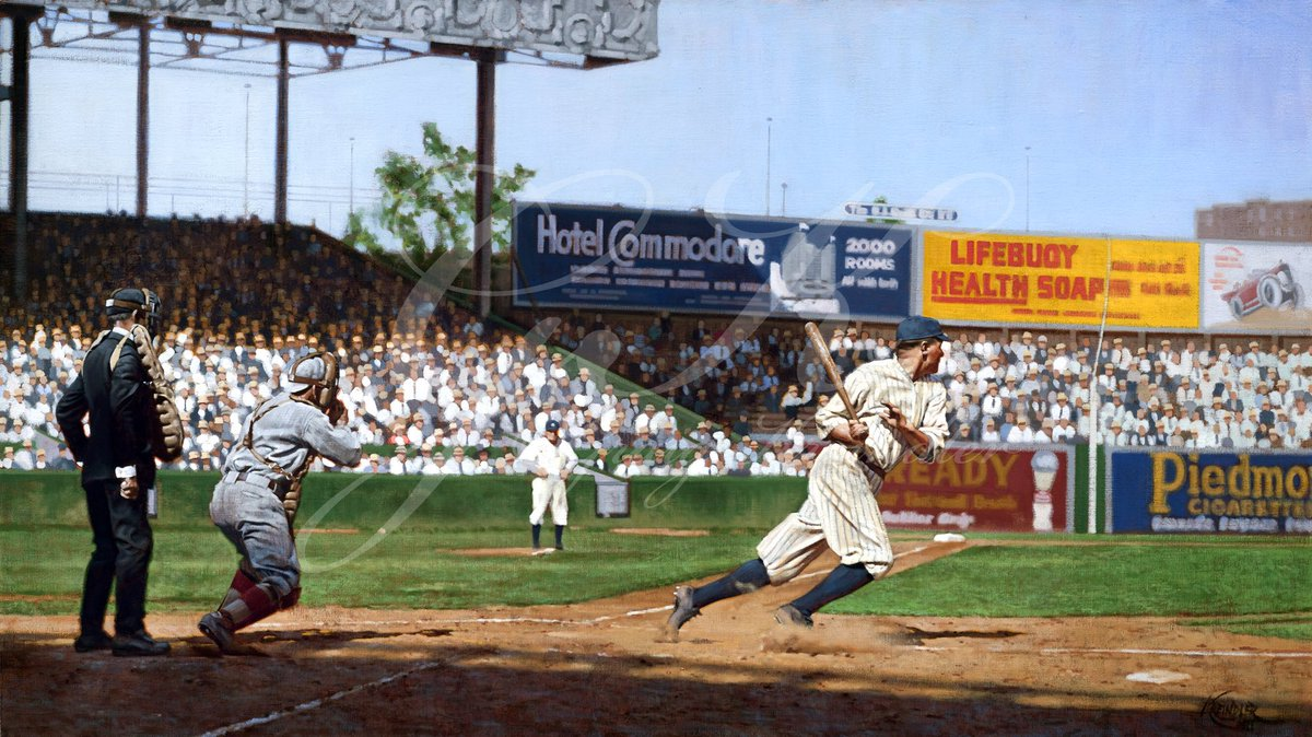 Here's my painting of a svelte Babe Ruth exploding out of the batter's box, June 25, 1920. I still really dig all of the energy in this one. https://t.co/PjiRmqMV61