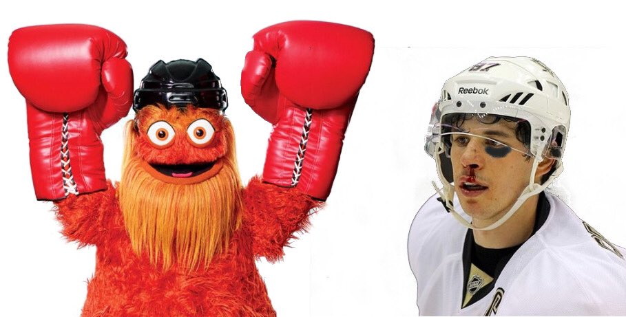 Hey Gritty... time to punch another kid #sidthekid #AnytimeAnywhere #NHLFlyers #Gritty
