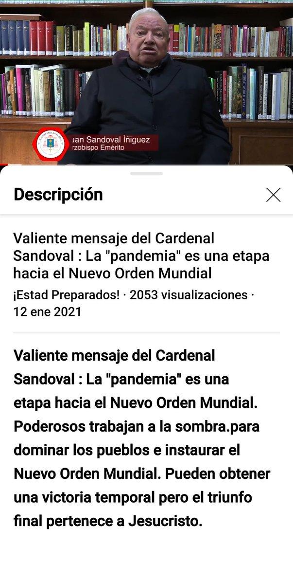 """Cardenal Sandoval: """"la pandemia es una etapa hacia Nuevo Orden Mundial"""""""