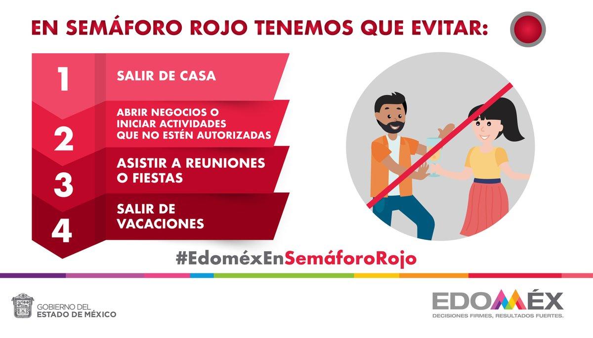 El #Edoméx sigue en semáforo rojo. Evita estas actividades.   #EdoméxEnSemáforoRojo #CuidemosTodosDeTodos #QuédateEnCasa