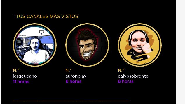 Mis canales más vistos  El del pana @jorgeucano  El Calvo favorito @auronplay  Y por supuesto mi canal de videojuegos @calypsobronte  Gracias @twitch por existir @TwitchES #TwitchRecap #TwitchRecap2020