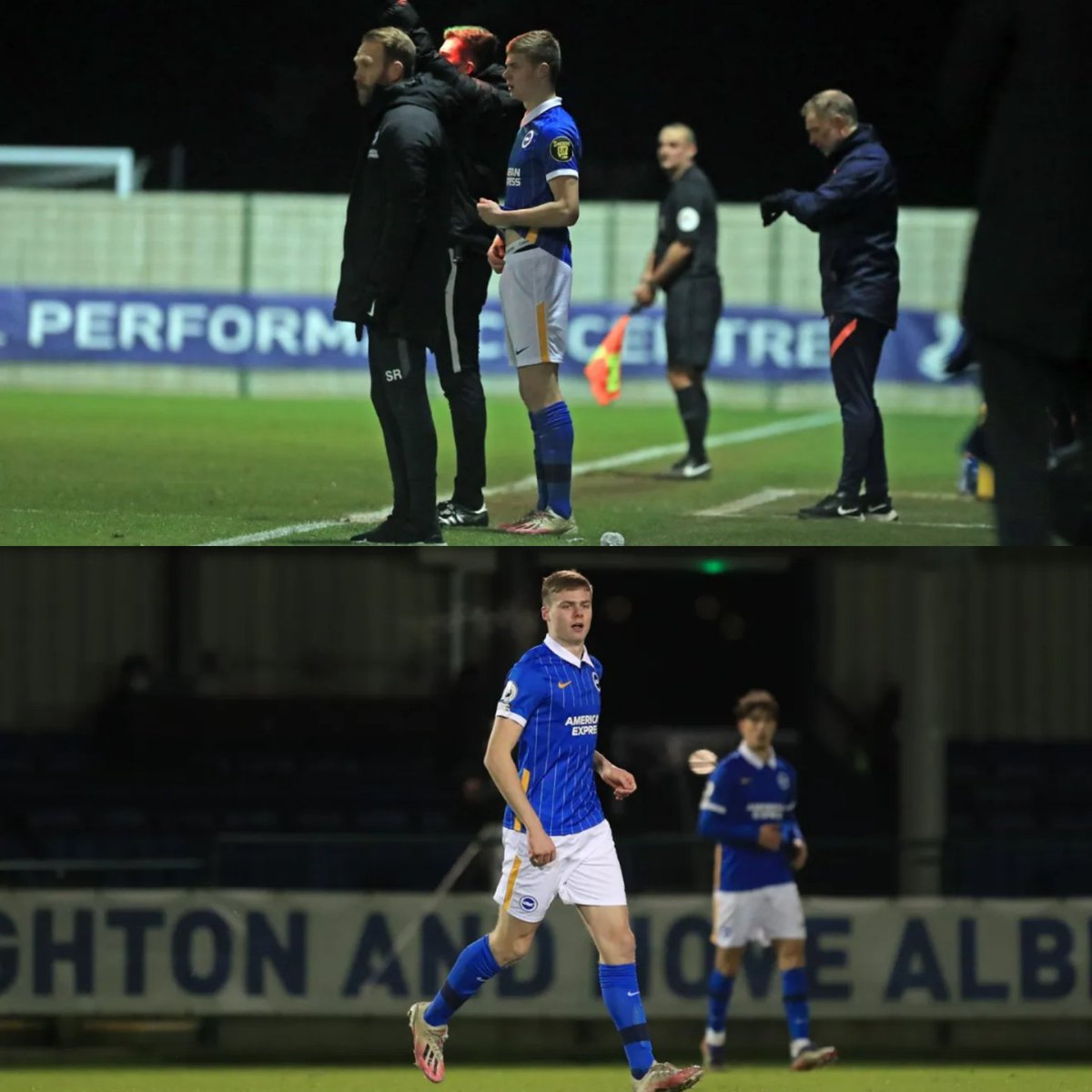 This is 16-year-old @Evan_Ferguson9 coming on for Brighton's U23s tonight against Spurs 6 days after he joined the club from Bohemians/SKB. Should be the start of something really special for the lad and another genuine reason to be hopeful for the future. ☘️ #coybig