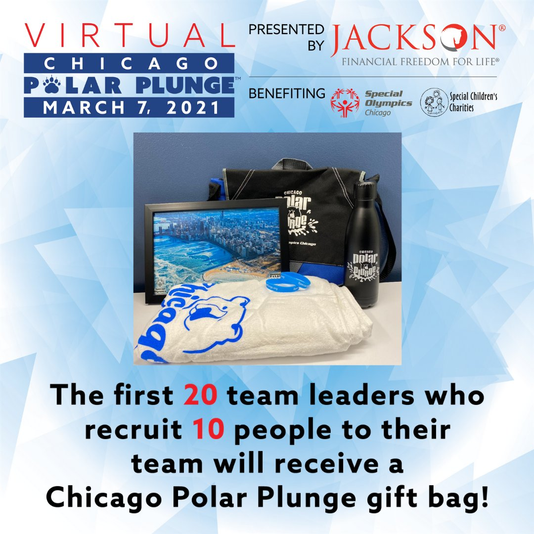We still have a few of these great gift bags available for team captains who recruit 10 or more members for the Virtual Chicago Polar Plunge presented by Jackson! Get started today at https://t.co/83HwBW6qRN https://t.co/TGzDf1opAH