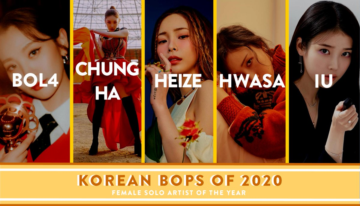 THE RESULTS ARE OUT!  Korean Bops of 2020 Female Solo Artist of the Year is now revealed! Who succeeded 2019's #Chungha for the title? [NOMINEES] 6. #Jessi #제시 7. #LeeHi #이하이 8. #Somi #소미 9. #Sunmi #선미  10. #Taeyeon #태연  WATCH NOW!