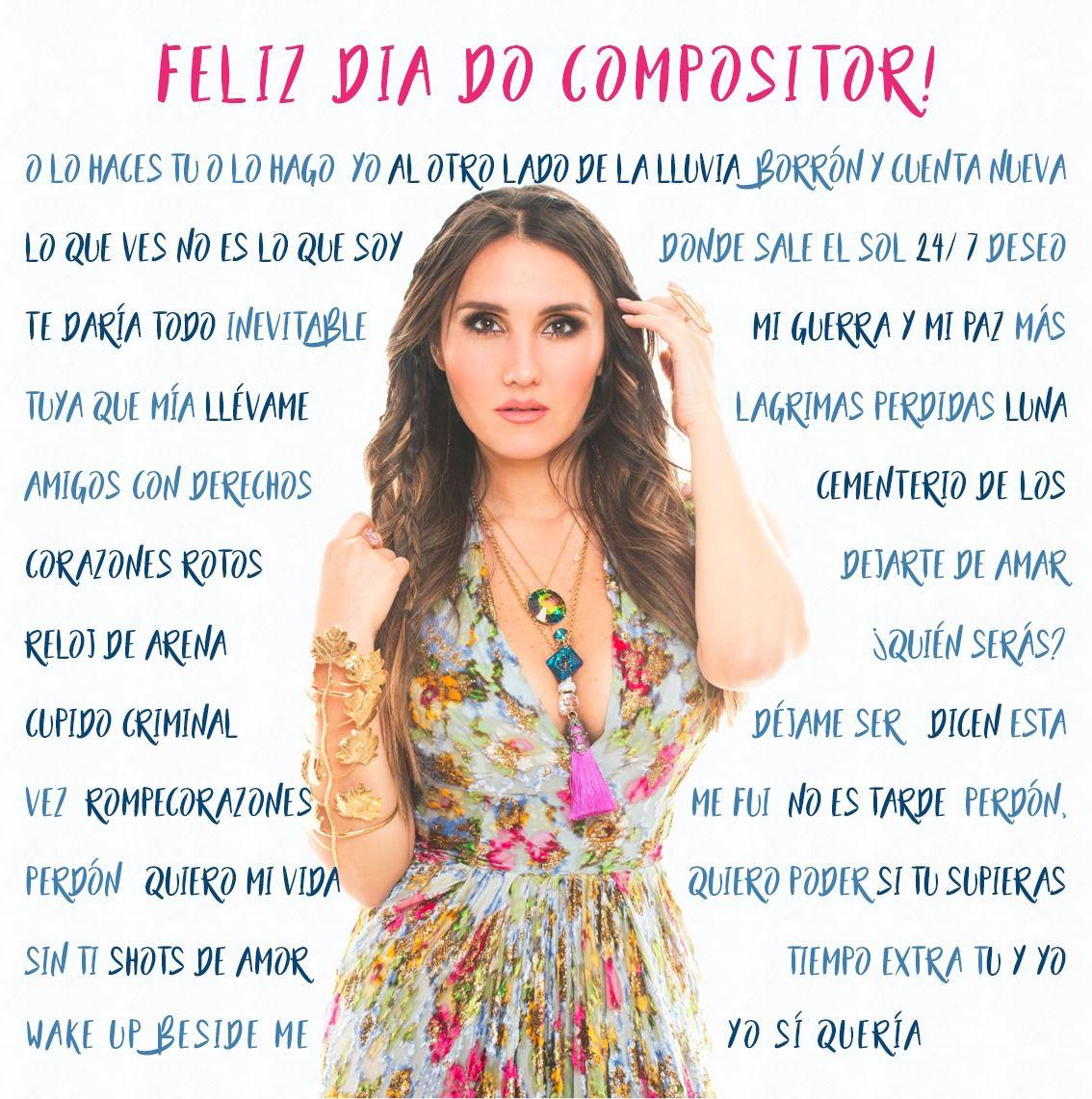 Hoje (15/01) se comemora o #DiaDoCompositor. Felicidades @DulceMaria por tantos hinos que fizeram parte da vida de milhares de pessoas que se identificam e amam sua música! 💗
