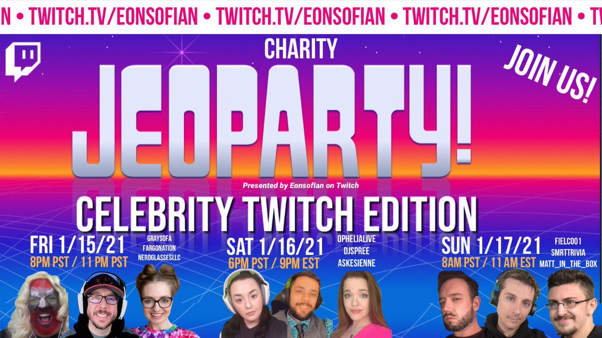 SMRTtrivia: RT @NerdGlassesLLC: Can't wait for Day 1 of @EonsofIan's Charity Celebrity Jeopardy TODAY at 8 PM PST / 11 PM EST! See you there and be sure to check out our friends all weekend long! #TwitchAffilate #videogames #alextrebek #donate