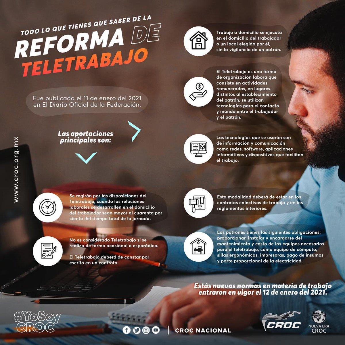 Conoce la Reforma de Teletrabajo, publicada el 11 de enero de 2021 en el Diario Oficial de la Federación. https://t.co/6V3if2Jl4B