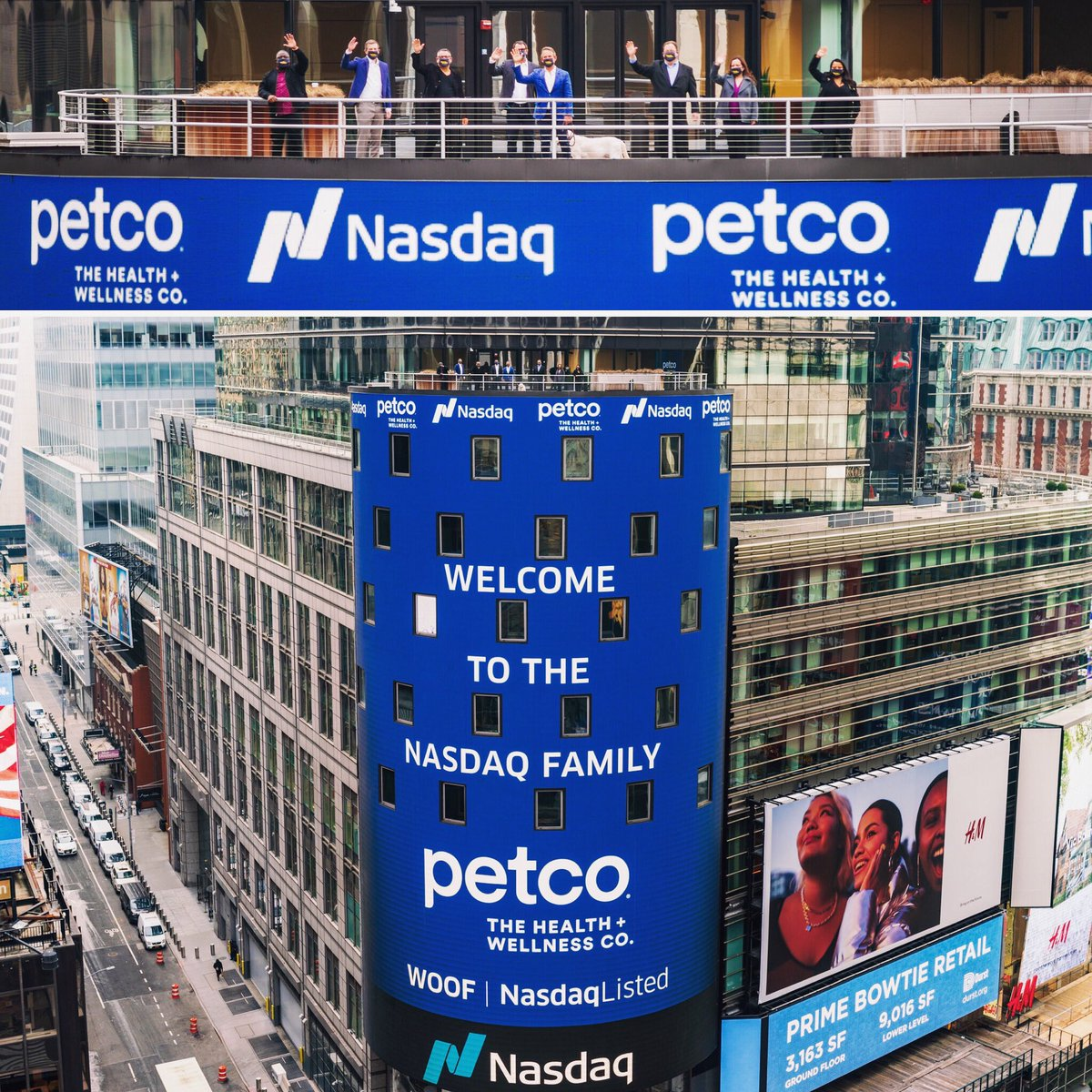 Congratulations to @Petco (WOOF) on the successful IPO!  We were honored to shoot it from atop Times Square.  #WeShootTheBiggestEvents   #sightandsound #petco #nasdaq #stockmarket #pet #woof #bealpha #timessquare #ipo #openingbell #topphotography