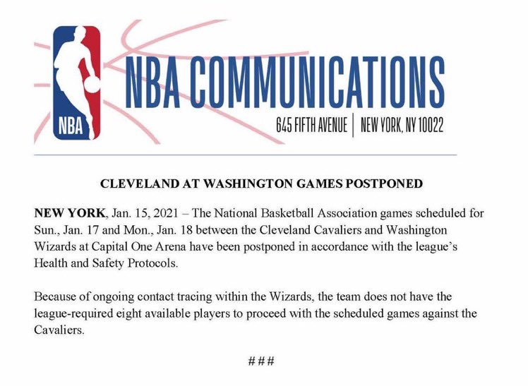 #BREAKING The #Wizards games against Cleveland scheduled for Sunday and Monday have been postponed #dcaboveall @wusa9 @WUSA9sports