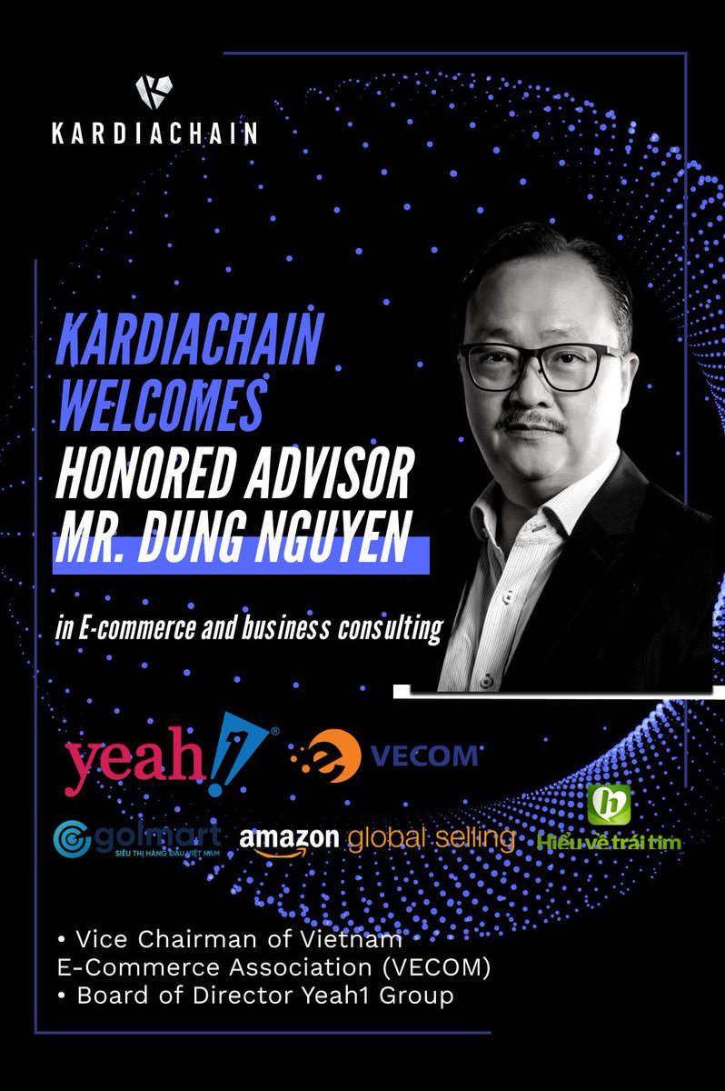 Kardiachain's $kai new advisory board member Mr Dung Nguyen is the founder of Vietnam's first online #ecommerce store Golmart. His extensive 15yrs background in online retail will help Kardiachain expand their presence in SEA.  #Ethereum  #bitcoin #crypto $eth $btc $link