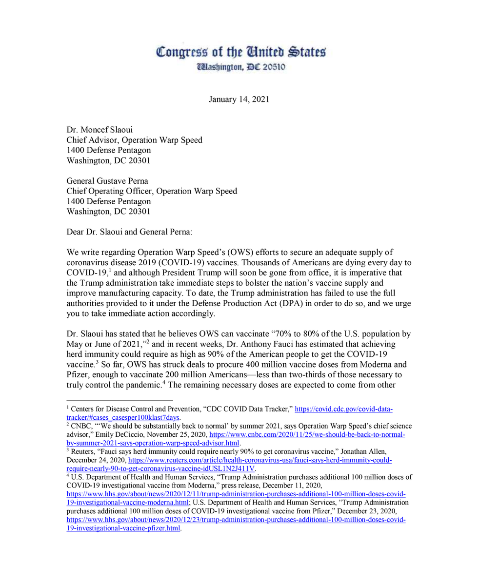 Thousands are dying from COVID-19 each day. Yet, the Administration has failed to fully embrace using the Defense Production Act to bolster our vaccine supply. Today, @SenWarren and I wrote to the heads of Operation Warp Speed detailing how to do so. We can't waste any more time.