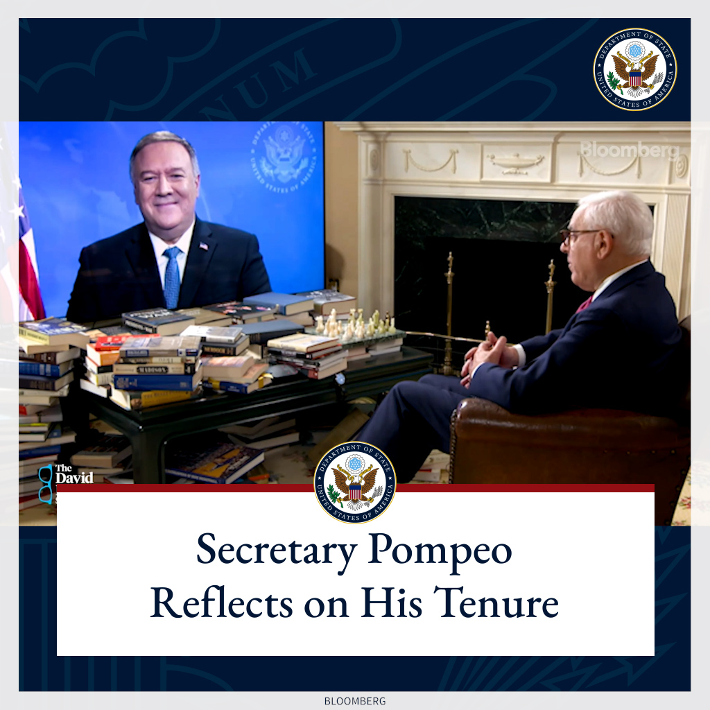 .@SecPompeo reflects on his tenure as the 70th U.S. Secretary of State with @Bloomberg's David Rubenstein.