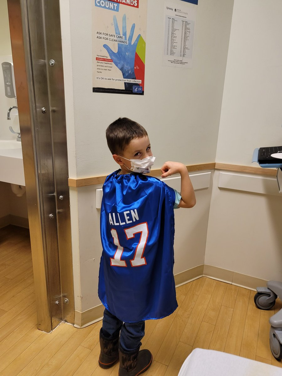 This superhero is ready for the Bills game tomorrow! Thank you to the @BuffaloBills for donating these @JoshAllenQB capes to Oishei Children's Hospital. Go Bills!