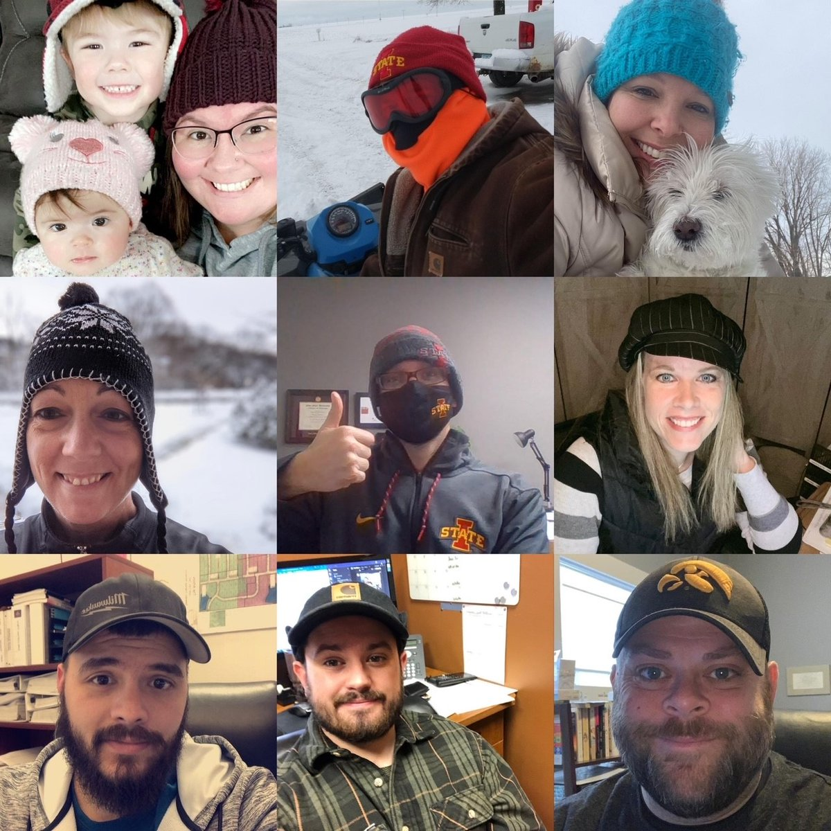 "Celebrating the ""many hats"" we wear throughout our day and are thankful we're seen as more than just ""employees"". #NationalHatDay #moms #dogdads #dogmoms #showshovelers #sons #dads #sisters #brothers #daughters #wives #snowmobilers #husbands #IowaStatefans #Iowafans #TheCGAWay"