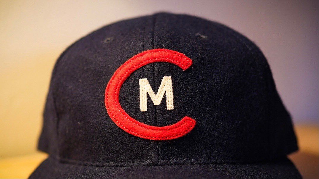 "Our ""C"" is modeled after Municipal Stadium itself, celebrating Cleveland's sports and cultural history. The white ""M"" inside the ""C"" is inspired by a logo worn by the Cleveland Buckeyes celebrating their 1945 Negro League World Series title.  #NationalHatDay"