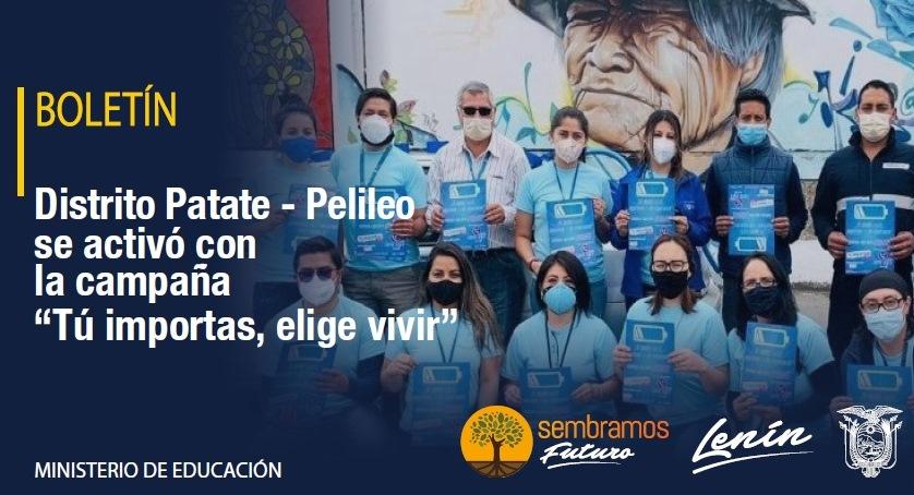 """[BOLETÍN] Por el Día Mundial de la lucha contra la Depresión, que se conmemora cada 13 de enero, el Distrito Patate-Pelileo en coordinación con diferentes entidades, se activó con la campaña """"Tú Importas, elige vivir"""". #JuntosPorLaEducación ➡️ https://t.co/RlFYfrQWfj https://t.co/ts1rUmoaq2"""