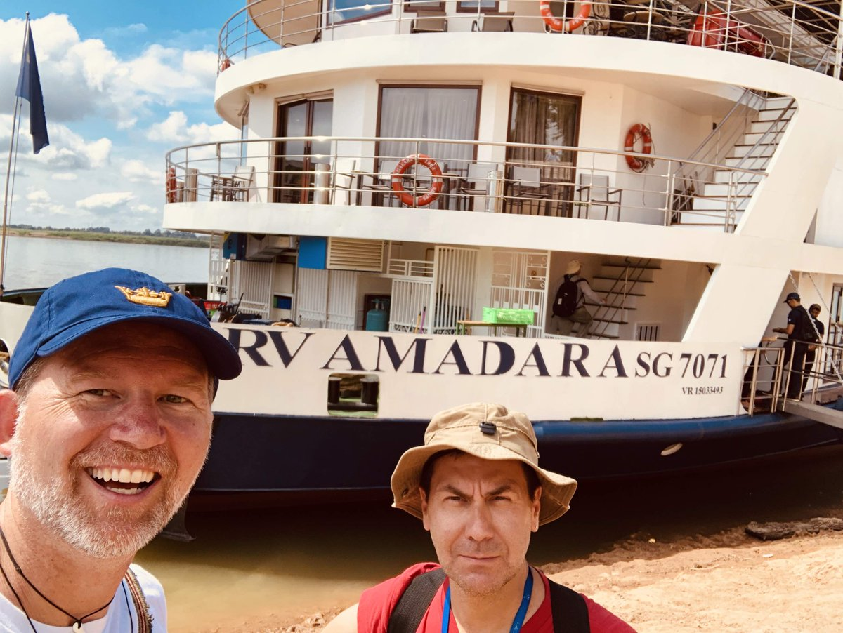 @AmaWaterways #NationalHatDay w/ our friends at @AmaWaterways sailing on the #AmaDara in Kampong Cham Cambodia 🇰🇭 can hardly wait to set sail again soon! #luxuryTravel #RiverCruise #ilovegay