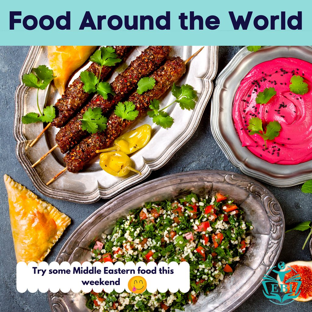 Happy Friday! Whatever your plans are this weekend try and add tasting an international cuisine 🤗   #cute #love #photooftheday #middleeast #kebab #food #salad #yougurt #samosa #foodaroundtheworld #weekendvibes #ordertakeout #takeout #internationaleducation #streetfood