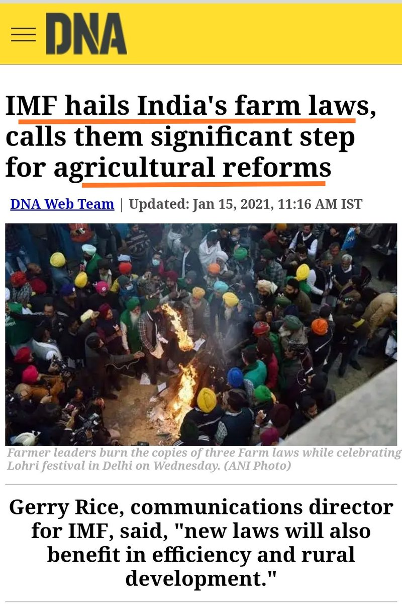 """@AskAnshul #Burnol Moment,  Now IMF = #RSS   International Monetary Fund #IMF  #Hails India's New #FarmLaws Calls them Significant STEP for Agricultural Reforms.   #IMF Chief Praises INDIA 🇮🇳 for Taking """"Very Decisive"""" Steps to Deal with the #Coronavirus Pandemic & its Economic Consequences"""
