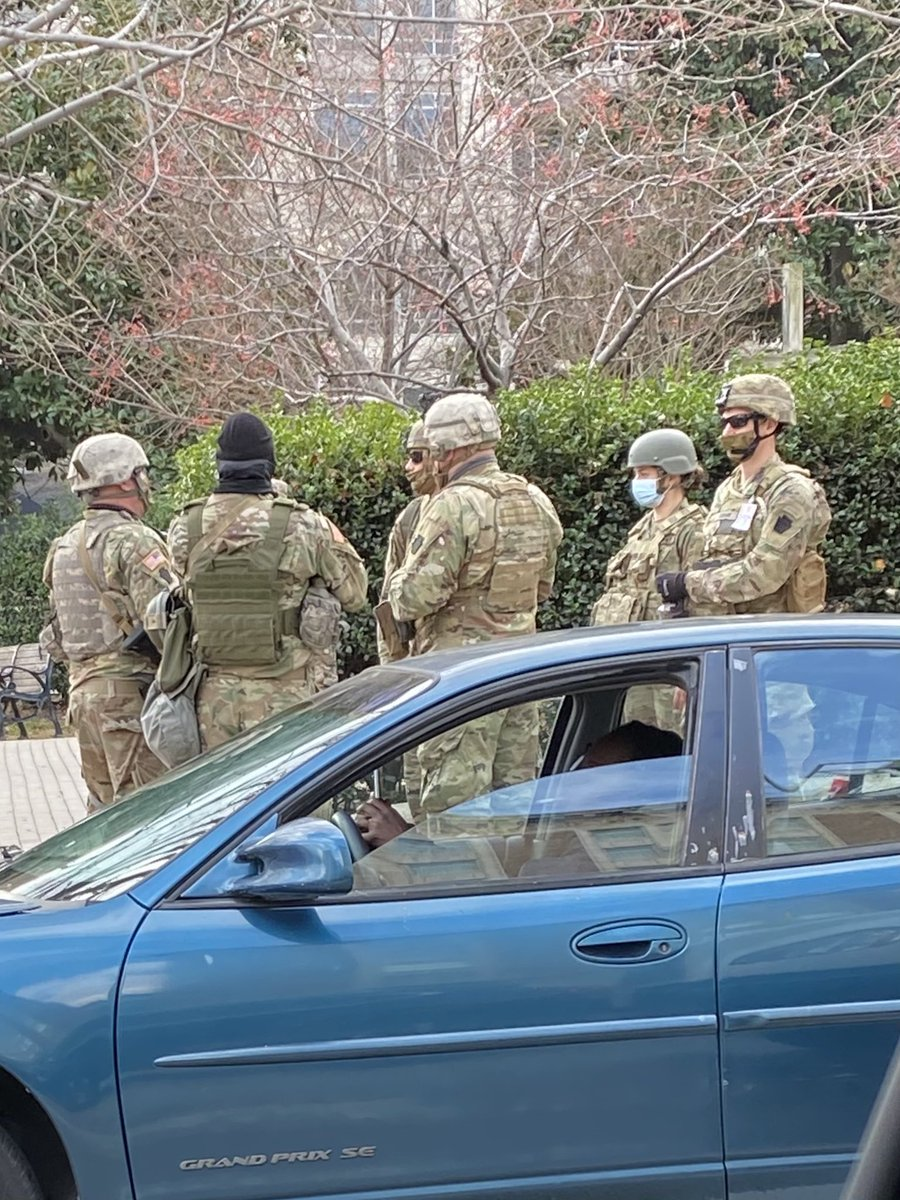 I spotted these National Guard troops at a normal Washington street corner not even near the Capitol. So many streets have been closed. It reminds me of the war zones I saw in Baghdad or Mosul or Falluja. So sad.