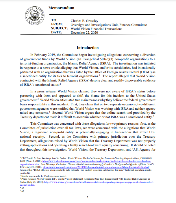 Memorandum to Charles E. Grassley Oversight and Investigations Unit, Finance Committee World Vision Financial Transactions December 22, 2020 Findings:  Obama Admin knowingly authorized funding to known Alqaeda affiliate (Part 1)