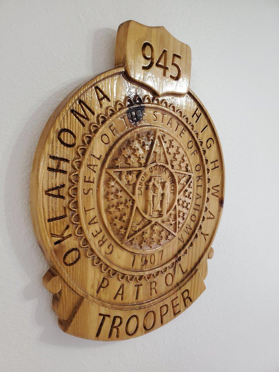NEW Improved Design - Custom Oklahoma Highway Patrol Trooper Police Badge  - Personalized Badge 3D V Carved Wood Sign  #Homedecor #Handmade #Plaque