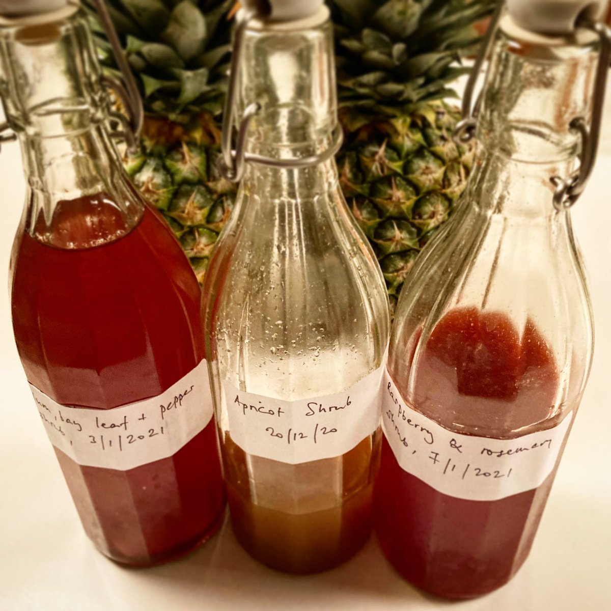 "In fact, they're similar to shrubs.   Eh?  Okay, I have to admit I knew nothing of this kind of ""shrub"" until a few months ago. But I've been busy making them recently, inspired by @dietsch. Refreshing, and good to layer into an evening awash with other libations!"