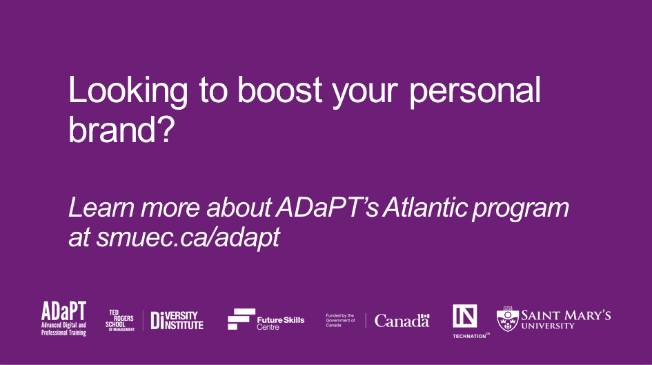 With ADaPT, access workshops that improve your most sought-after skills. Applications for ADaPT Atlantic are closing soon! Apply by Jan 17th at  @fsc_ccf_en @RyersonDI @TECHNATIONca @smuhalifax #FutureSkills #WIL #SMU #SMUhalifax #diversityinstitute