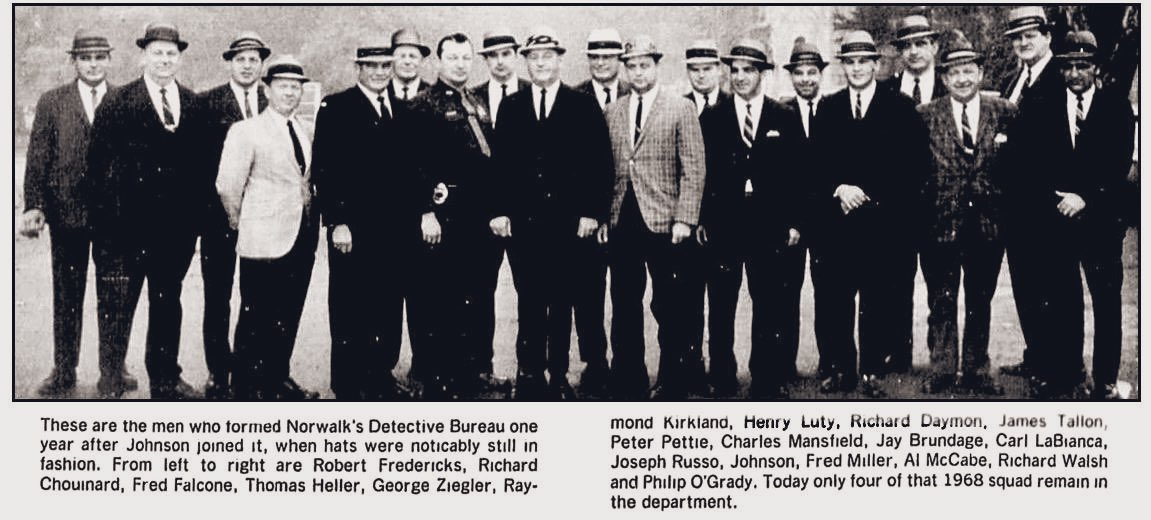 """Here's the way police detectives dressed, up until the 1960s. Hats were provided gratis by the soon to be shuttered """"Hat Corporation of America"""".  Hats were one of Connecticut's key industries!(Photo from the Norwalk, Ct """"Hour"""" newspaper)  #NationalHatDay"""
