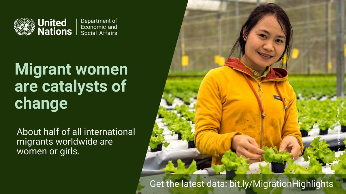 Did you know?  Migration can contribute to gender equality and women's empowerment in countries of origin and destination.  Find out more in @UNDESA's latest #UNPopulation migration report: