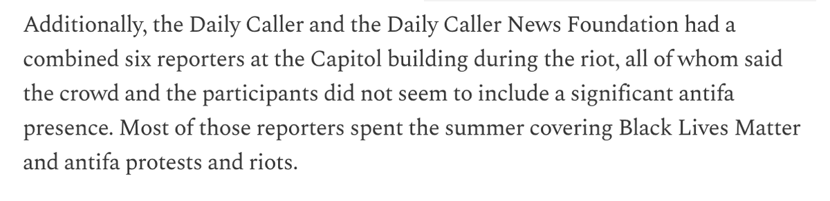 The @DailyCaller, which also didn't indulge Trump's mass voter fraud delusions, also has a reality-based story that runs down all the Trump fans arrested and includes their reporters observations from the scene.