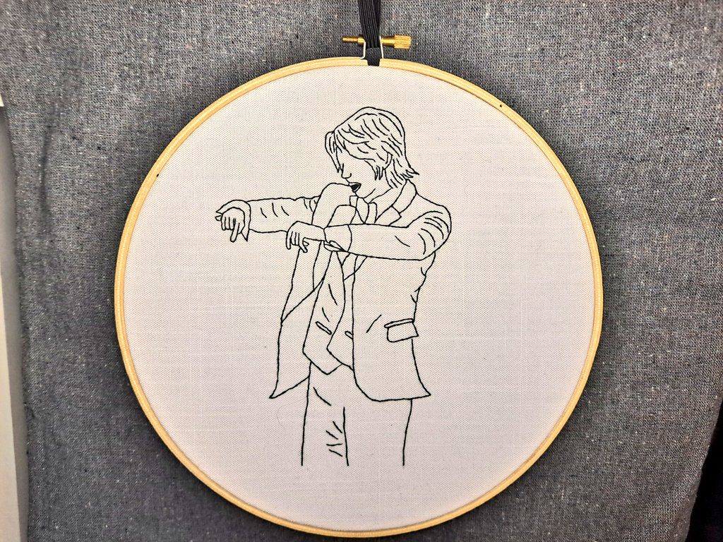 Finished my first line art embroidery in time for Hyungwon's birthday!  #HBDtoHYUNGWON #HAPPY_BIRTHDAY_HYUNGWON  #HAPPY_HYUNGWON_DAY #MONSTAX