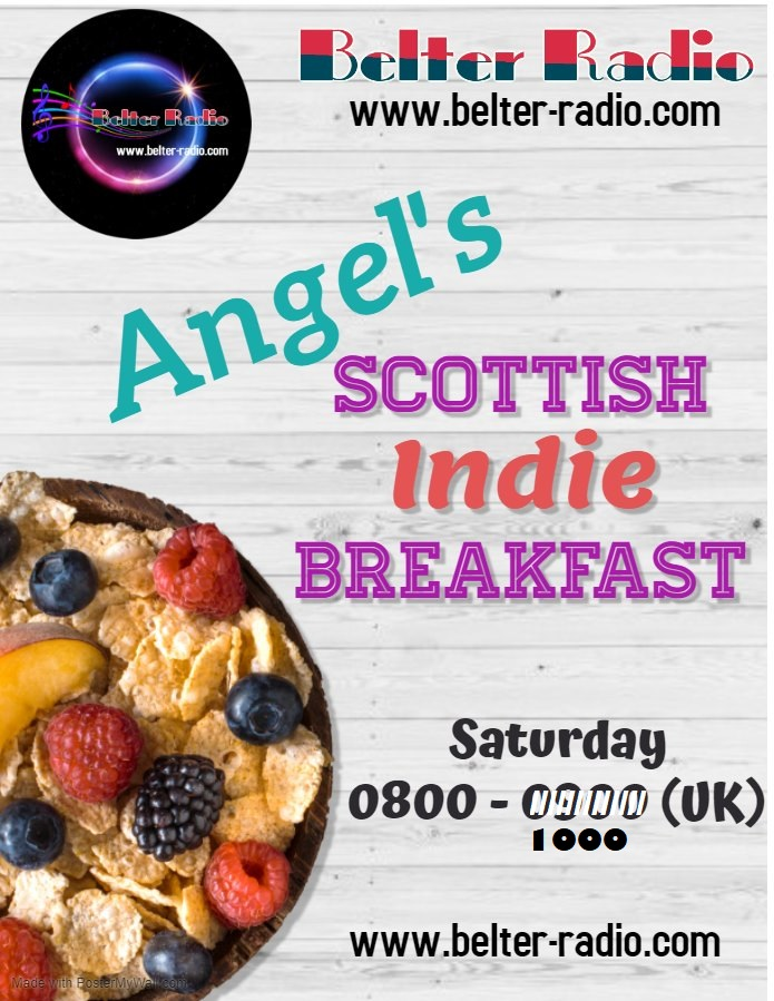 Angel's Scottish Indie Breakfast, Sat 16 Jan 2021 at 8-10 am GMT on Belter Radio.   Listen to the show at:    #radio #music   Artists airing: @warrenstarrysky  @Dodester  @Delerium65  @TheSolidBond @BreaktheEmbargo  @TheKaplans  @beafets  @LemonDrinkBand