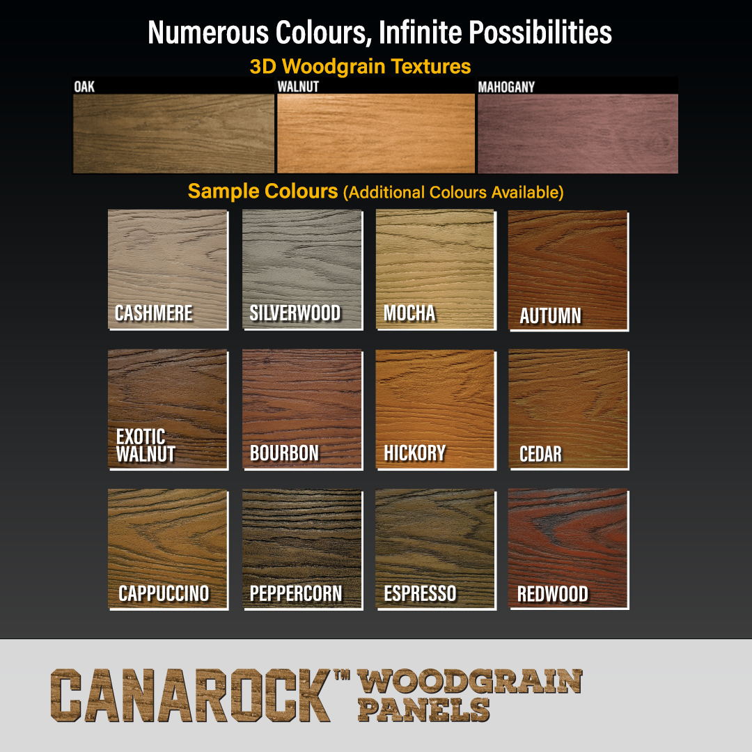 Available in a wide array of textures and colours, CANAROCK™ Woodgrain Panels has the perfect combination you need to make your exterior truly unique.  #woodgrain #woodcladding #woodpanels #exterior #exteriormoulding #exteriortrim #windowtrim #doortrim #architecture #design