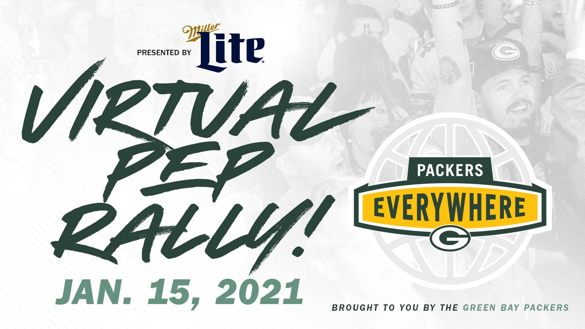 TONIGHT 🏈🎉  Join us at 6 p.m. CT for a FREE virtual @packeverywhere pep rally presented by @MillerLite!    Set a reminder to watch live on YouTube:  More details:
