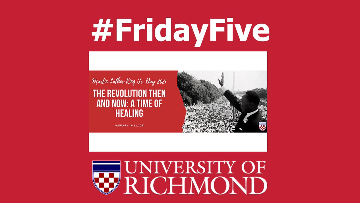 That's all for today's #FridayFive highlighting #URichmond experts available to provide insight for #MLKDay2021 stories. The university will be closed Monday. Learn more about the #MLK activities planned at https://t.co/bWdFlE3aPN https://t.co/qIYhd4gZ7y