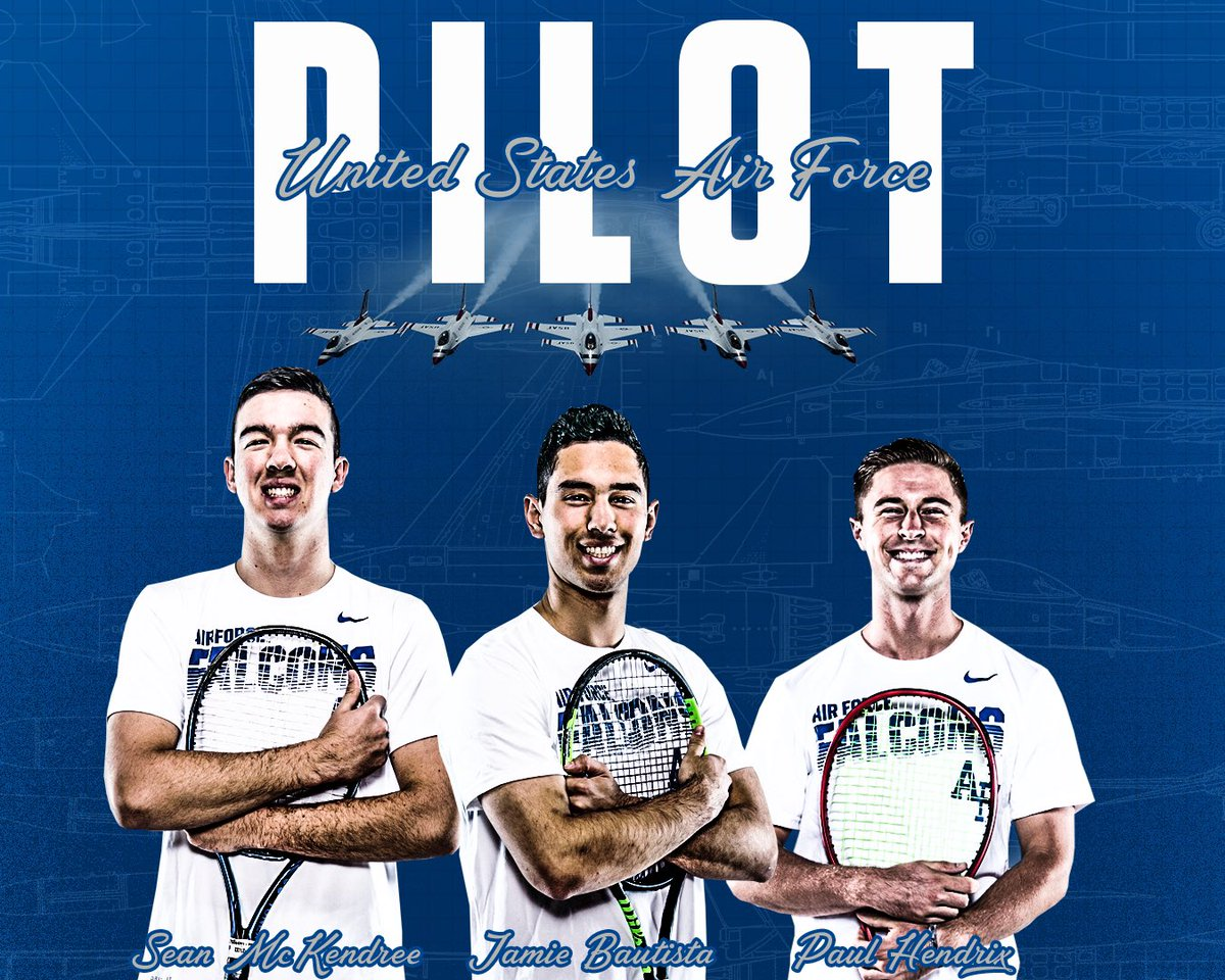 ⚡️JOB DROP⚡️  Congratulations to all three of our Seniors on receiving Pilot slots ✈️ These guys are going to do big things in the world's greatest Air Force! #aftennis #LetsFly #pilot