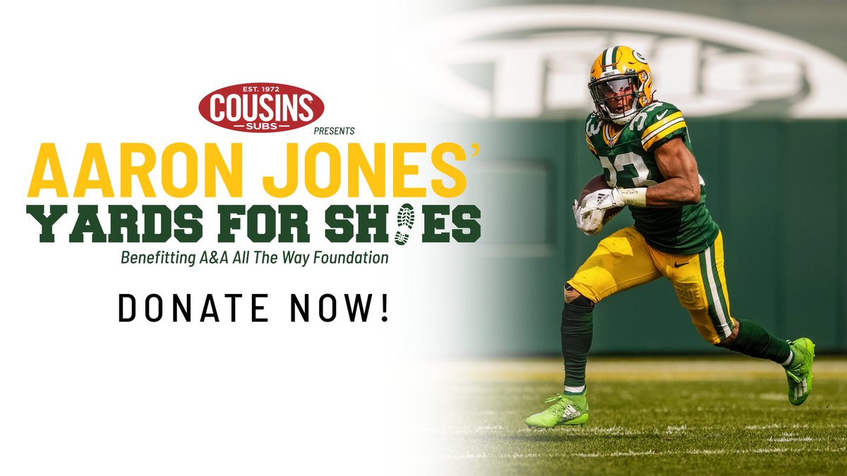Join @Showtyme_33 in giving back & make a donation to Yards for Shoes presented by @cousinssubs! Funds raised will go towards purchasing additional shoes for the children.  Donations can be made at .  #Yards4Shoes #AaronJones #AAAllTheWay #GoPackGo