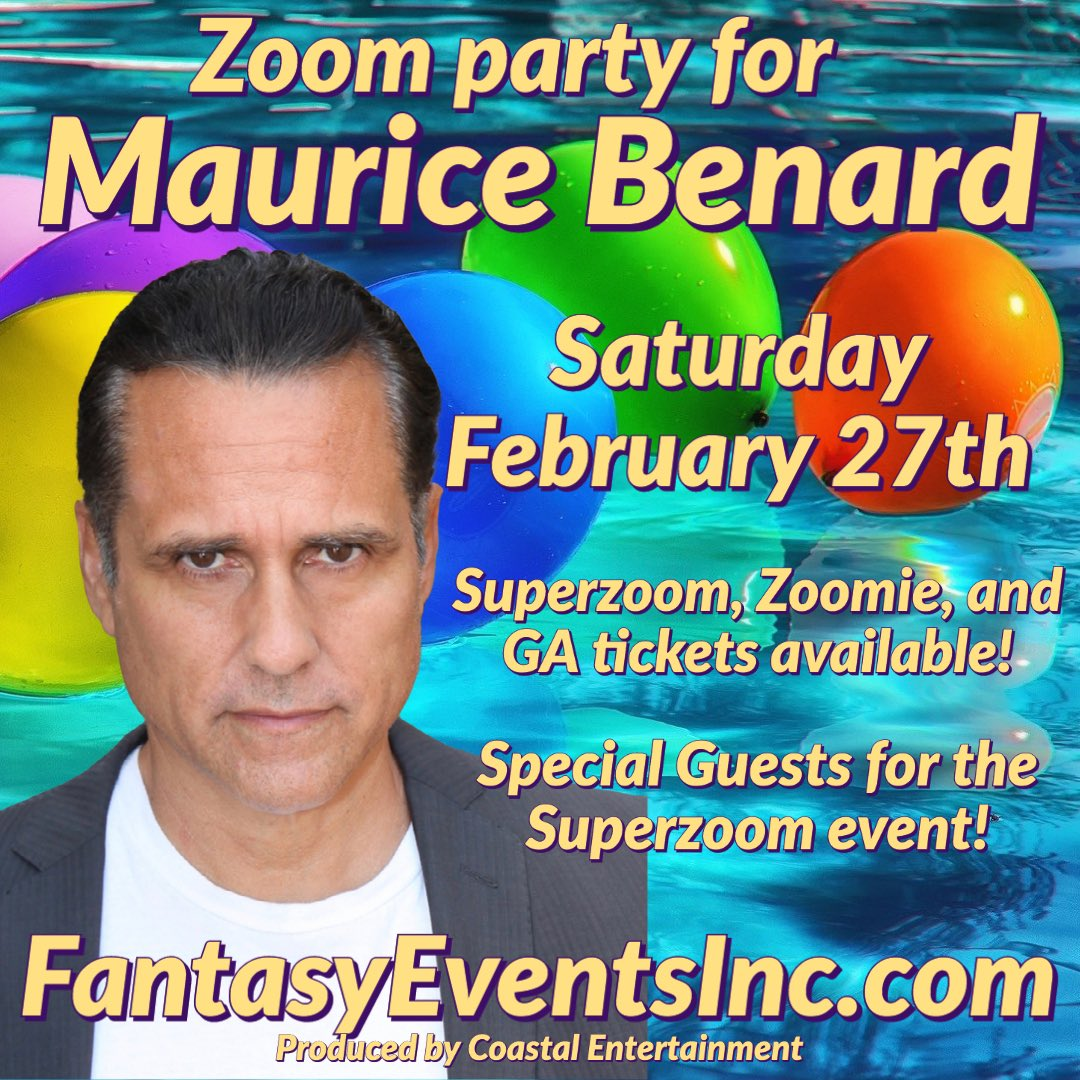 Oh yes! @MauriceBenard is our birthday boy on Feb. 27- #zoom with us-let's all celebrate this #GeneralHospital legend @coastalent1 🎈🎈🎈🎈🎈