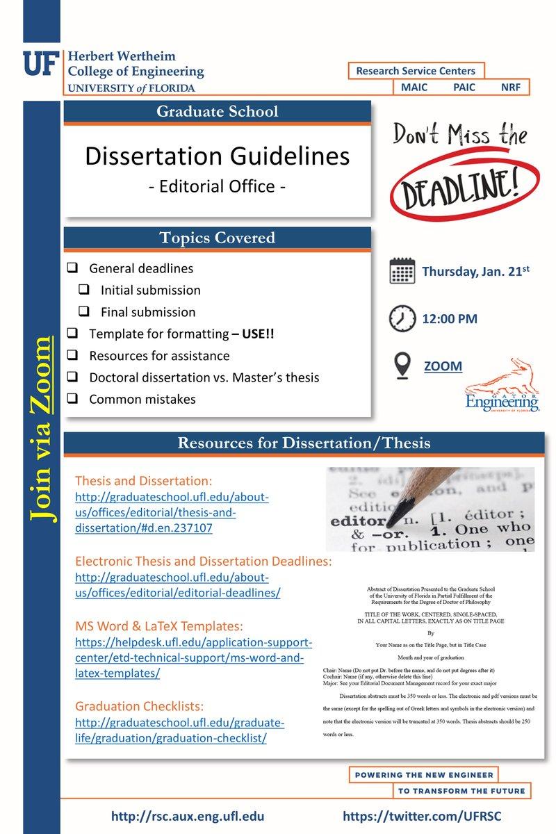 Uf Research Service Center Ufrsc Twitter Dissertation Checklist